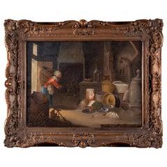 Cornelis Dusart Late 17th Century Oil on Canvas Painting, 1704