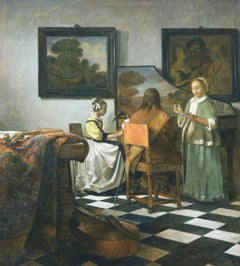 The Concert - 21st Century Classical Style Oil Painting (after Vermeer)