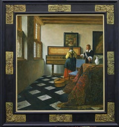 The Music Lesson - 21st Century Classical Style Oil Painting, (after Vermeer)