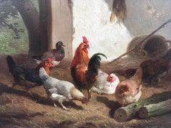 Barnyard with Hens and roosters, oil on board signed Cornelis Van Leemputten