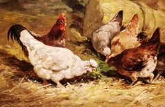 Cornelis Van Leemputten, Chickens and roosters, 19th, oil on wood, signed