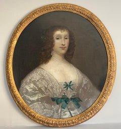 17th century portrait of lady in an ivory silk gown and lace collar