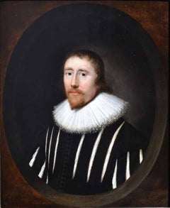 Portrait of a Gentleman in a Slashed Black Doublet - 17th Century