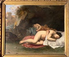 17th Century Dutch Old Master - Italianate Classical Landscape Diana and Nymphs