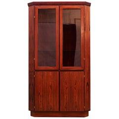 Corner Cabinet 1960s-1970s Rosewood Brown Vintage