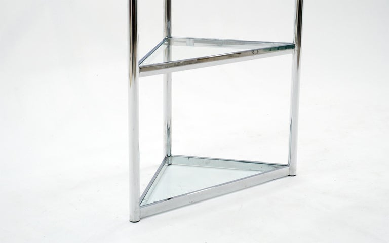 Mid-Century Modern Corner Chrome and Glass Etagere / Shelves in the Style of Milo Baughman For Sale