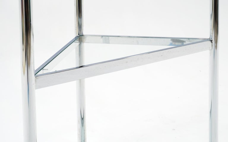 American Corner Chrome and Glass Etagere / Shelves in the Style of Milo Baughman For Sale
