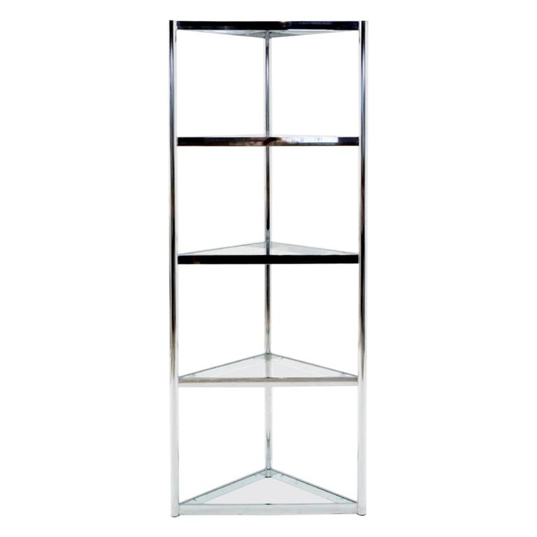 Corner Chrome and Glass Etagere / Shelves in the Style of Milo Baughman For Sale