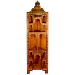 Corner Cupboard in Precious Wood Veneer, Syrian Work, circa 1900-1930