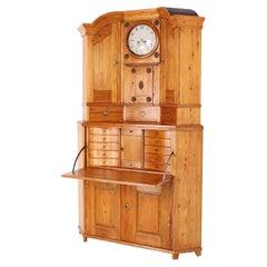 Corner Cupboard with Built in Grandfather Clock, Corner Secretaire, Sweden, 1800