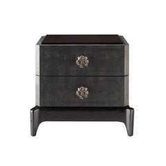 Corner Night Stand in Leather and Beech Wood by Roberto Cavalli