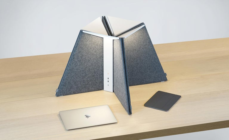 Modern Corner Office Table Lamp 15 in Stone by Pablo Designs For Sale