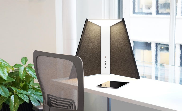 American Corner Office Table Lamp 15 in Stone by Pablo Designs For Sale