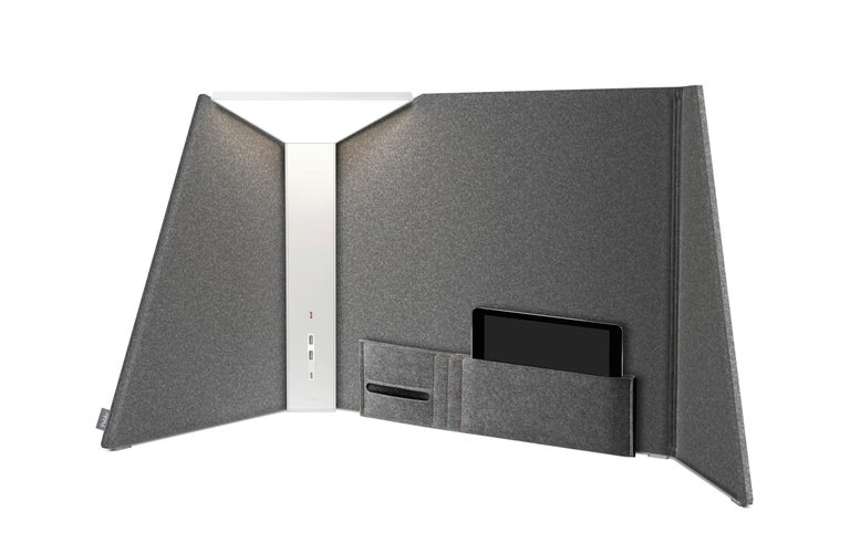 Corner office systemic and flexible, offering various degrees of privacy and power provision. The system comprises three elements: a glare-free, fully dimmable LED corner task light that incorporates power ports featured in its armature; a set of