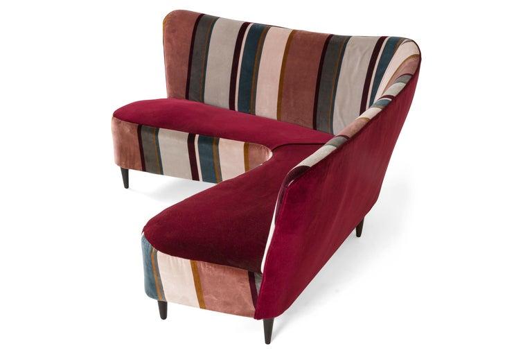 Mid-Century Modern Corner Sofa/Settee, Italy, 1950s For Sale