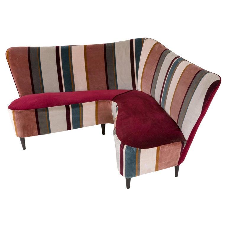 Corner Sofa/Settee, Italy, 1950s For Sale