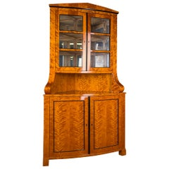 Corner Vitrine Biedermeier  Flamed Birch