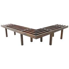 Midcentury Corner Wood Bench Slat Bench, 1960s
