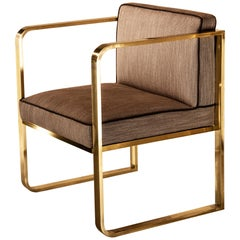 Corners Armchair, Solid Brass Frame, Florence Luxury Manufacturing
