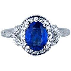 Cornflower 2 Carat Oval Sapphire and Diamond Solitaire Ring