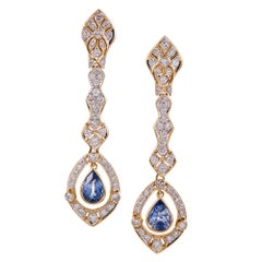Cornflower Blue Sapphire and Diamond Filigree Drop Earrings
