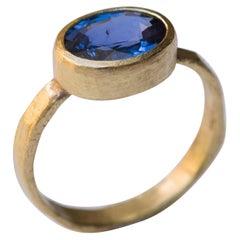 Cornflower Blue Sapphire 18 Karat Gold Ring Handmade by Disa Allsopp