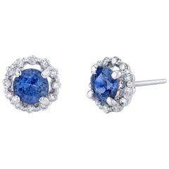 Cornflower Blue Sapphire and Diamonds 18 Karat White Gold Earrings