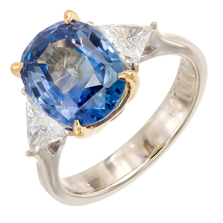 4.50 Carat Cornflower Blue Sapphire Trilliant Cut Diamond Gold Engagement Ring
