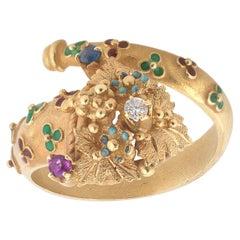 Cornucopia Diamond, Ruby, Emerald and Sapphire Ring