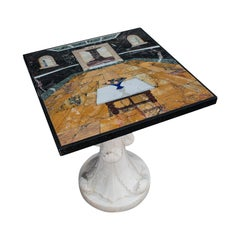 'Cornucopia' Vintage Decorative Marble Table, English, Handmade, Pietra Dura