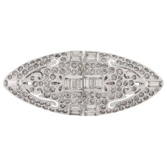 "CORO 1932 ""Duette"" Silver Rhodium Plated Cut Steel Rhinestone Brooch Dress Clip"