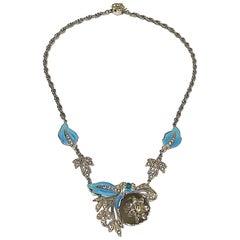 Coro 1939 Art Deco Quivering Camelia Tremblant Necklace, Adolph Katz