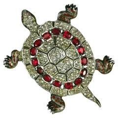 Coro Art Deco Pave Turtle Brooch