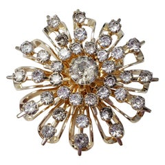 Coro Clear Crystal Gold Tone Flower Collector's Pin Brooch, Vintage, Mid 1900s