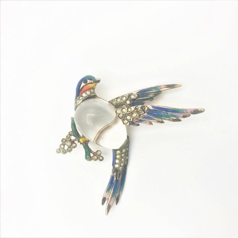 Artisan Coro Craft Sterling Jelly Belly bird broch 1944 For Sale