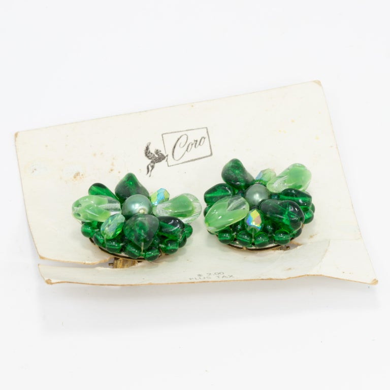 Retro Coro Green Crystal Flower Cluster Clip on Earrings, Vintage, Made in Germany For Sale