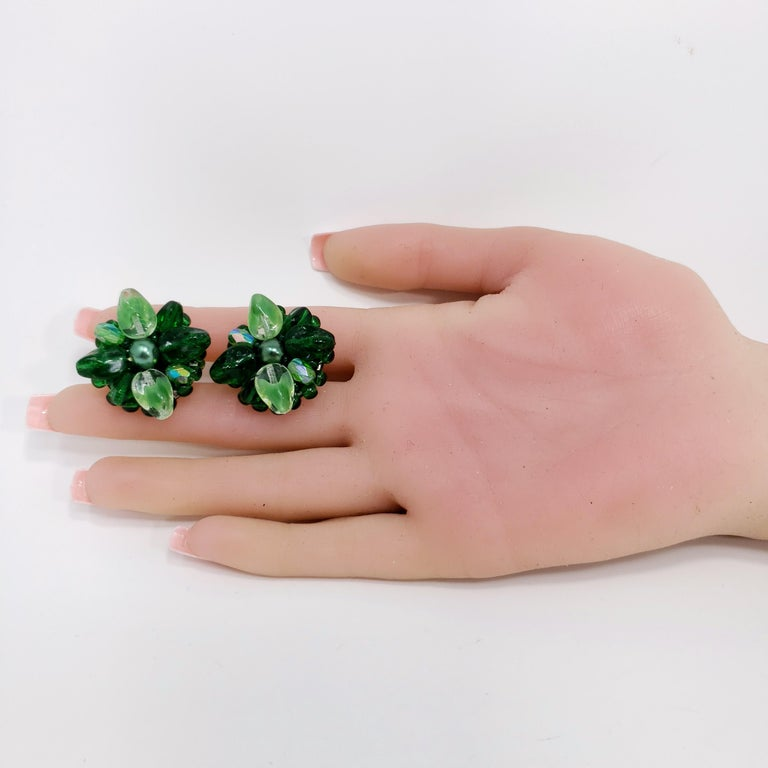 Coro Green Crystal Flower Cluster Clip on Earrings, Vintage, Made in Germany In Excellent Condition For Sale In Milford, DE
