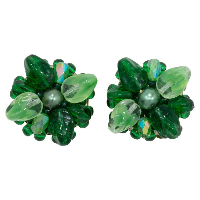 Coro Green Crystal Flower Cluster Clip on Earrings, Vintage, Made in Germany For Sale
