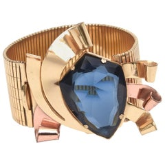 Coro Retro Gold, Copper and Blue Faceted Glass Cuff Bracelet