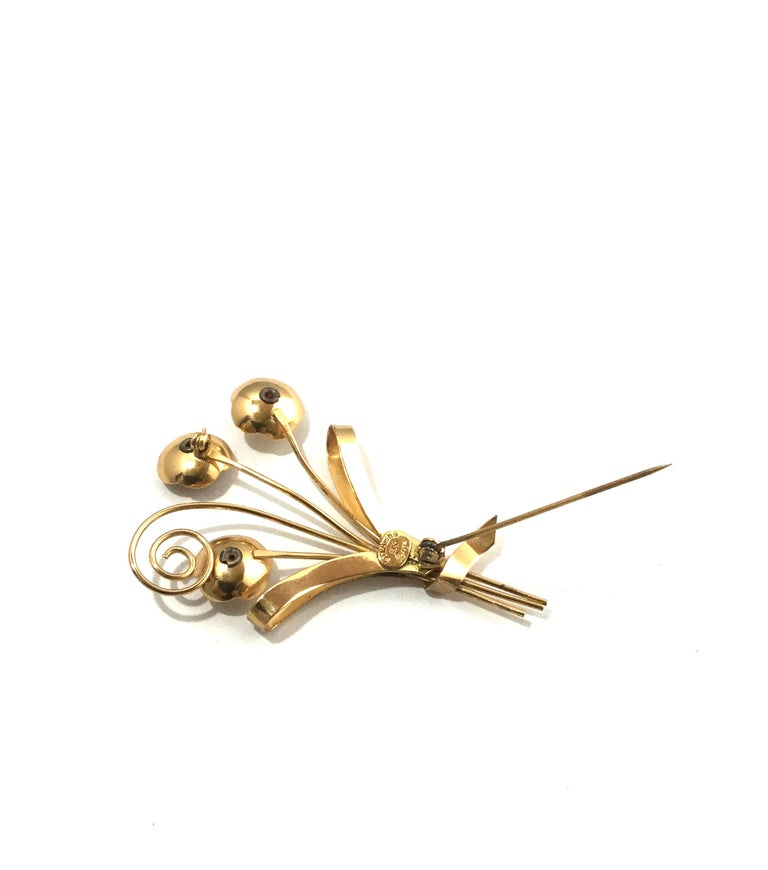 Coro Sterling Silver Gold-Plated Flower Brooch Pin For Sale 5
