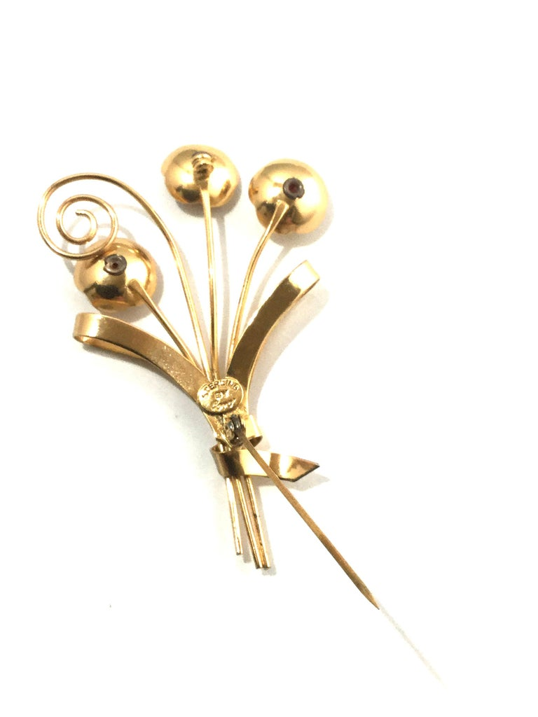 Women's or Men's Coro Sterling Silver Gold-Plated Flower Brooch Pin For Sale