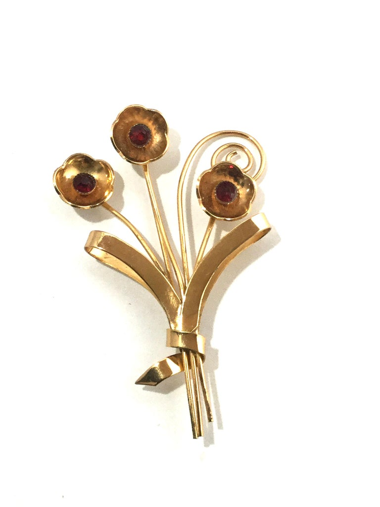 Coro Sterling Silver Gold-Plated Flower Brooch Pin For Sale 2