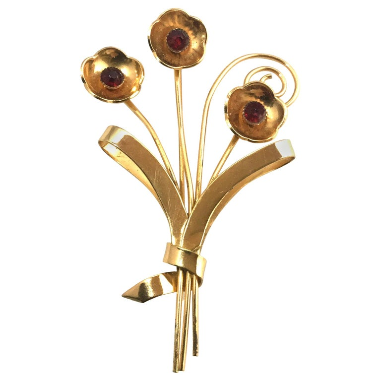 Coro Sterling Silver Gold-Plated Flower Brooch Pin For Sale
