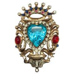 Corocraft Vintage Brooch Sterling Silver Crystal Heart 1940s
