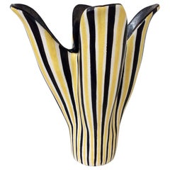 Corolla Stripped Ceramic Vase, circa 1950, France