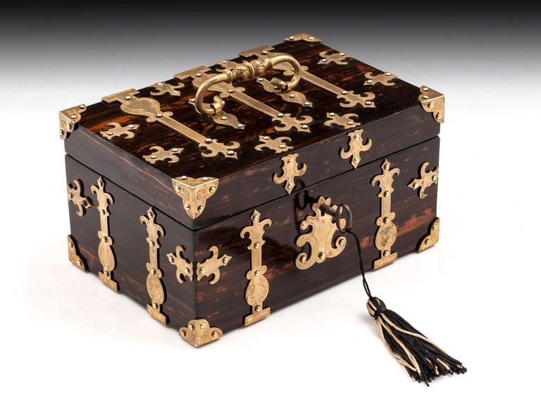 Coromandel Brass Trinket Jewelry Box with Brass Mounts, 20th Century For Sale 5