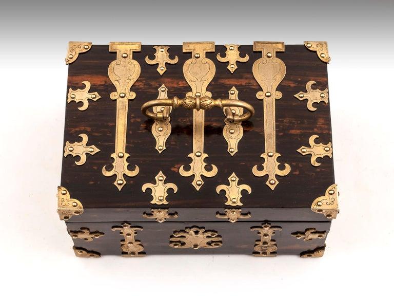 Edwardian Coromandel Brass Trinket Jewelry Box with Brass Mounts, 20th Century For Sale