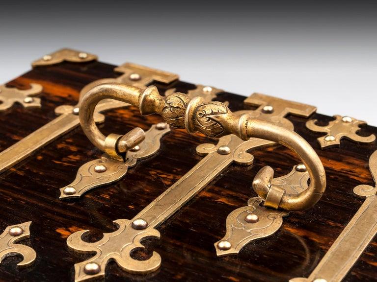 British Coromandel Brass Trinket Jewelry Box with Brass Mounts, 20th Century For Sale