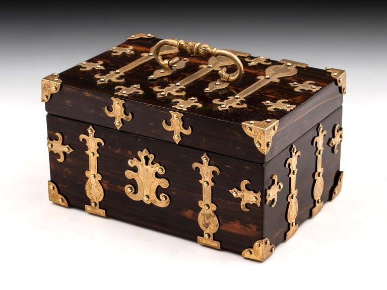 Coromandel Brass Trinket Jewelry Box with Brass Mounts, 20th Century In Good Condition For Sale In Northampton, United Kingdom