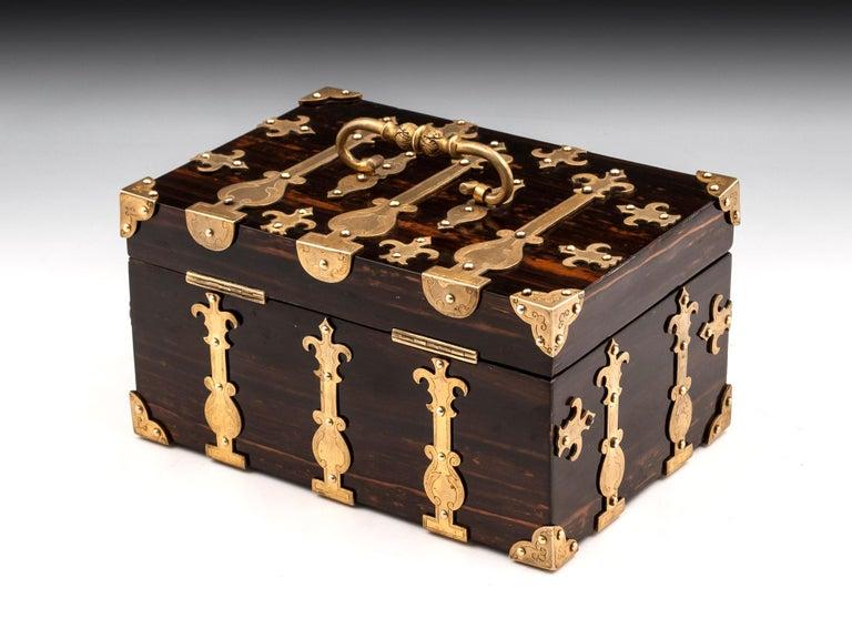 Coromandel Brass Trinket Jewelry Box with Brass Mounts, 20th Century For Sale 1